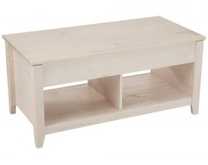 AmazonBasics lift-top coffee table with a white finish and two storage areas