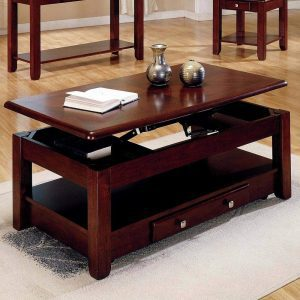 Lift-top coffee table with open shelf storage and drawers
