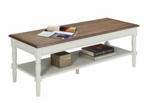 Dark brownFrench country coffee table with white framing and storage shelf