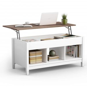 White coffee table with a lift-top storage area and shelves