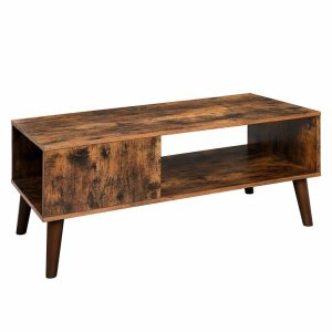 Retro styled coffee table with a semi-hidden storage area