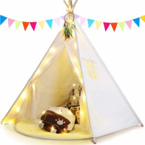 Anpro decorated kids' teepee tent with fairy lights and flags