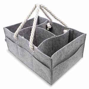 Large changing table storage organizer in a gray felt fabric and rope handles