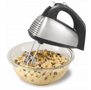 Hamilton Beach Classic silver and black hand mixer