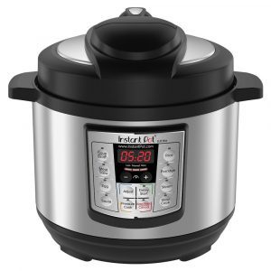 Instant Pot LUX compact rice cooker with a black and stainless steel finish