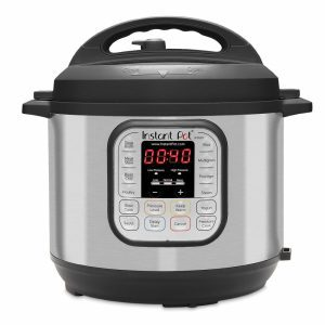 Instant Pot DUO60 rice cooker with a black and stainless steel finish