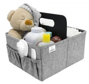 Changing table storage organizer in a grey fabric with side pockets