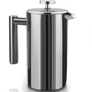 SterlingPro French press coffee maker in a glossy steel finish