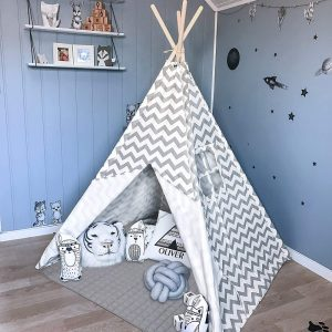 Tiny Land Chevron teepee tent in a blue kids' room