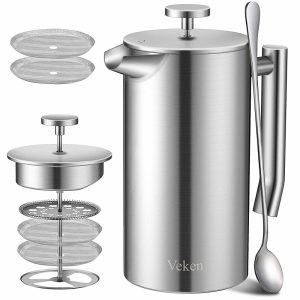 Double-wall stainless steel French press coffee maker
