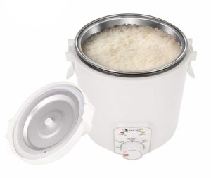 White Tiger rice cooker with a white finish and a steel inner pot with rice
