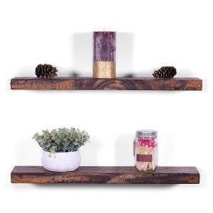 Rustic wooden floating shelves in a dark finish