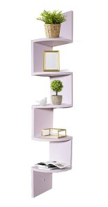 White wooden floating shelf