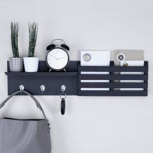 Ballucci mail holder floating shelf in black finish