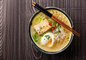 A bowl of hot noodle soup for lunch