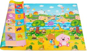 Animal and forest themed multi-colored baby play mat