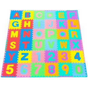 Multi-colored Prosource baby play mat with numbers and letters