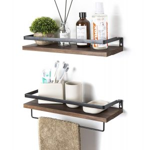 Multi-purpose wooden floating shelves with a metal frame