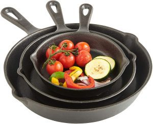 VonShef cast iron skillet in multiple sizes