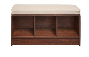 ClosetMaid 1309 Cubicals wooden shoe storage bench with a cushioned seat