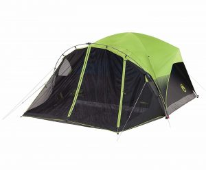 Neon green and black dome tent