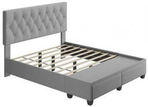 Platform Bed With Storage Drawers and Light Gray Upholstery
