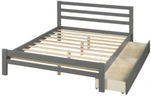 Gray Wooden Platform Bed With Two Storage Drawers at one side
