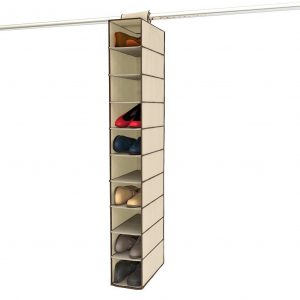Hanging shoe storage and organizer for a closet