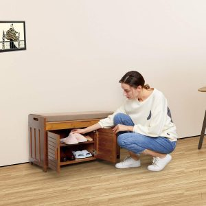 Shoe storage bench with a cushioned seat