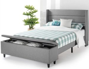 Gray Mellow Platform Bed With Headboard and Large Bedside Storage