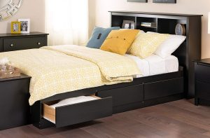 Dark wooden platform Storage Bed With a Bookcase as a Headboard and drawers