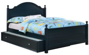 Dark Wooden Platform Bed in a Transitional Style With a Blue Painted Finish