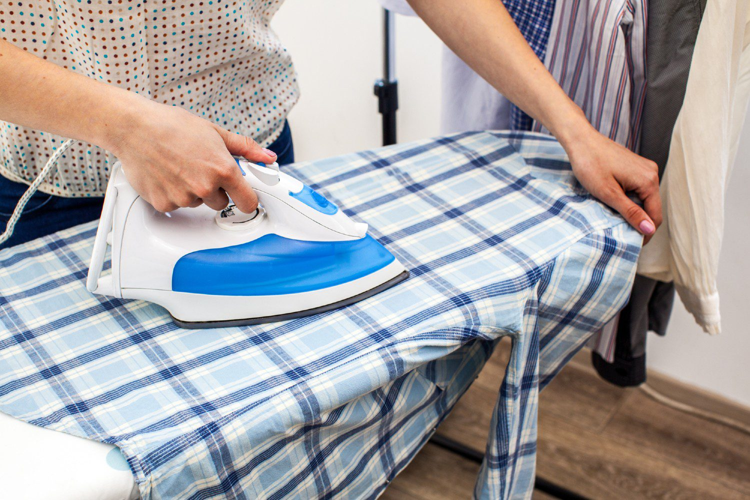 Ironing on a board in a small space
