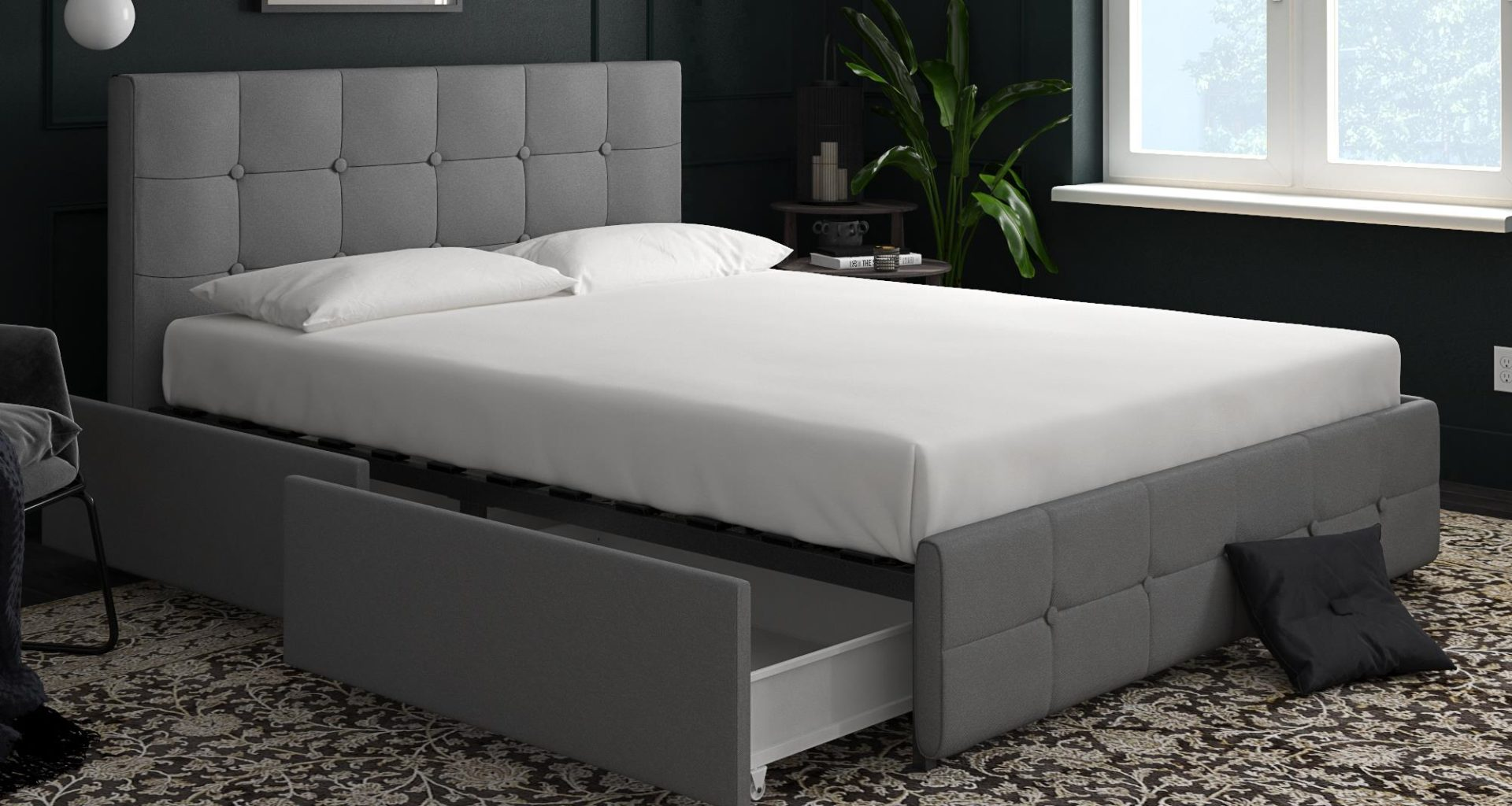 Contemporary bedroom with a grey upholstered platform bed and a white mattress