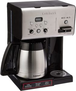 Cuisinart CHW-14 Coffee Plus 10-Cup Thermal Coffee Maker with a single-serve slot, stainless steel and black finish