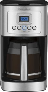 Cuisinart DCC-3200P1 programmable coffee maker in a silver-black finish with glass carafe