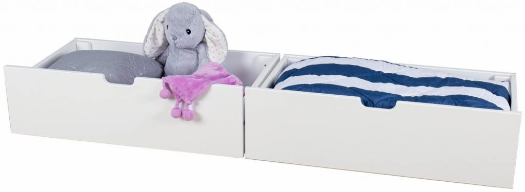 White open top bed drawers