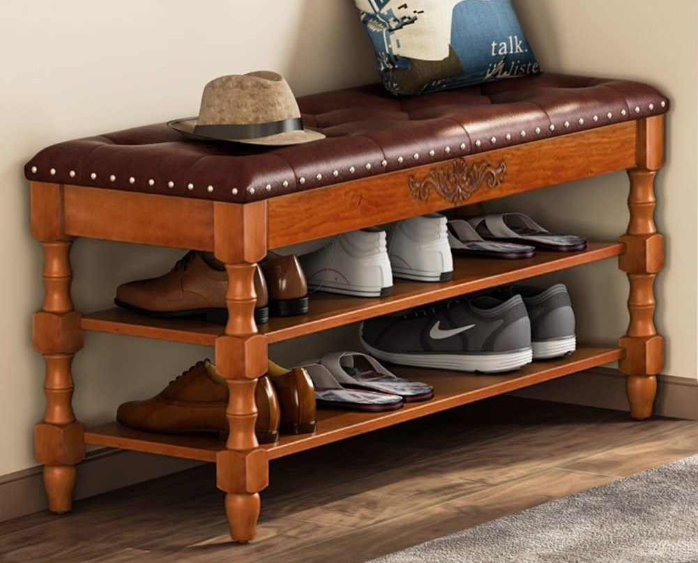 Tribesigns Solid Wood Storage Bench