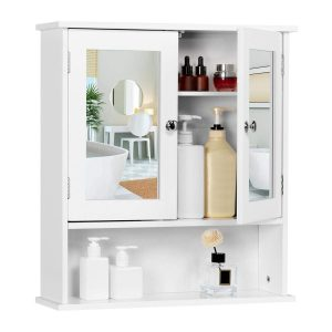 Bathroom mirror with a small cabinet