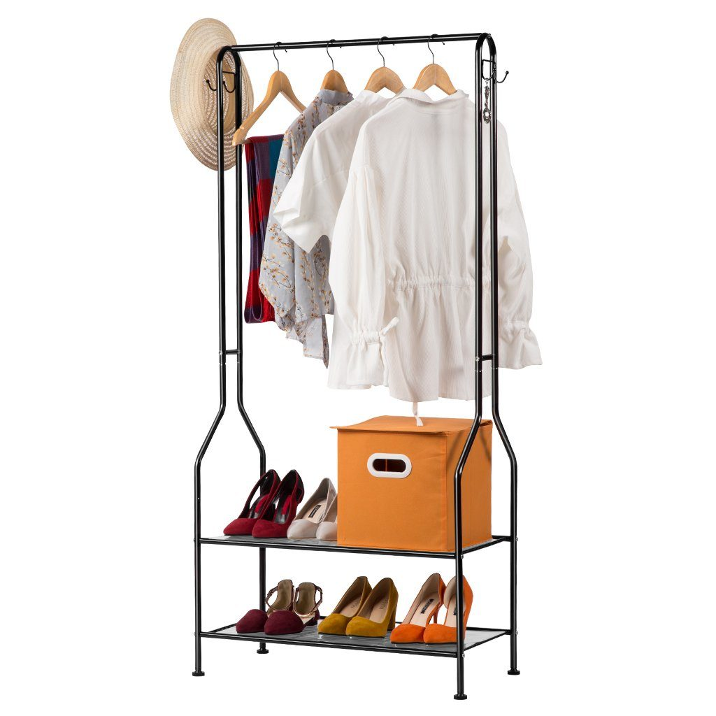 Metal garment rack with storage shelves