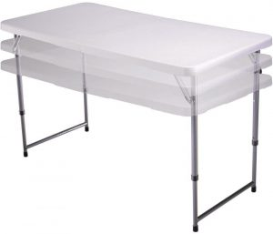 4' White Fold N Half Table with a white table top