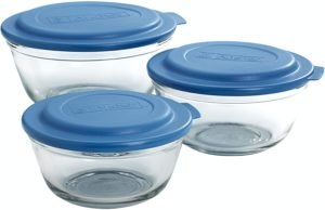 Anchor Hocking 6-Piece Mixing Bowl Set With Blue Lids