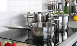 Stainless steel cookware on an induction cooktop