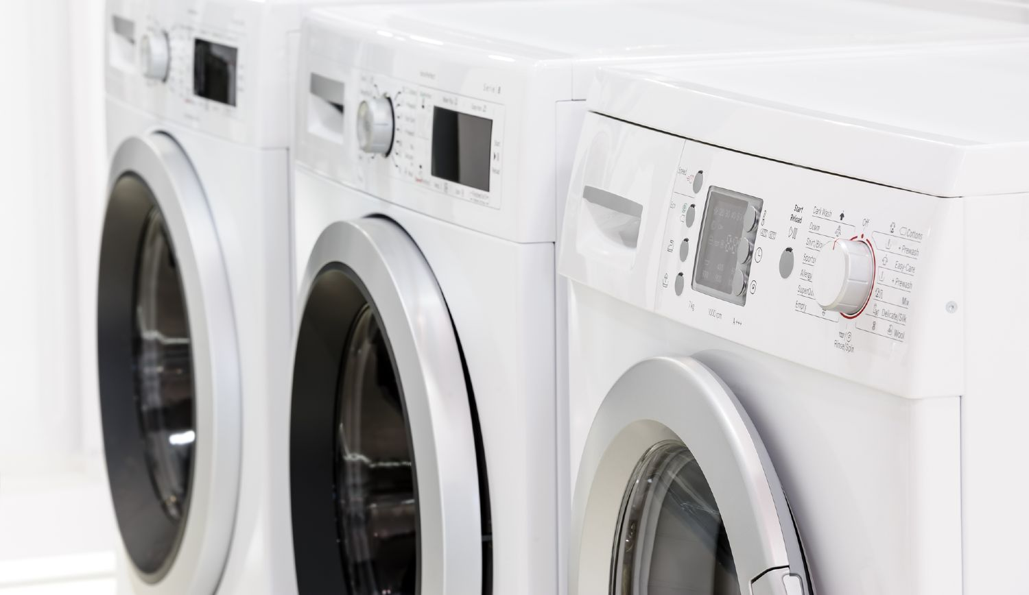 Front load washers on display in a store