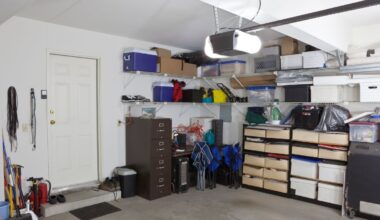 Garage storage area packed with different items