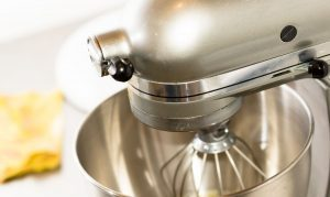 KitchenAid stand mixer in use