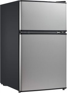 Midea WHD-113FSS1 mini fridge and freezer
