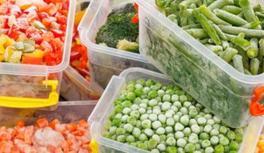 Frozen vegetables stored in plastic containers