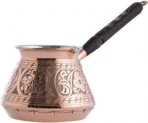CopperBull THICKEST Solid Hammered Copper Turkish Coffee Maker with engraved pattern and wooden handle