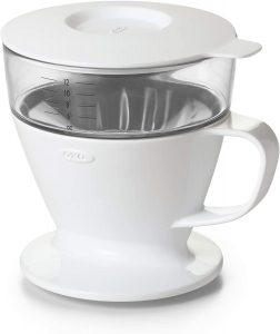 OXO BREW Single Serve Dripper Auto-Drip Pour-Over Coffee Maker with Water Tank, white BPA-free plastic